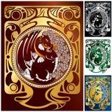 2 установленного орнамента драконов Стоковая Фотография