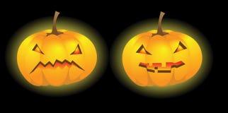 2 фонарика тыквы Halloween Стоковые Изображения RF