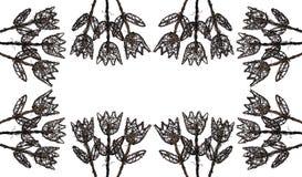 2 цветка обрамляют древесину иллюстрация вектора