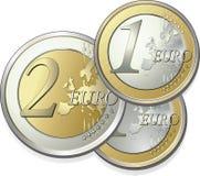 2 части евро иллюстрация вектора