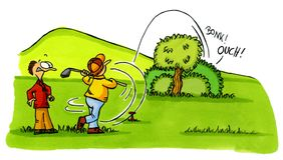 2 шаржа аварии golf серии номера игрока в гольф Стоковая Фотография