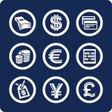 2 10个财务图标货币零件集 皇族释放例证