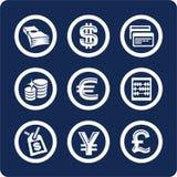 2 10 χρηματοδοτούν το σύνολο μερών χρημάτων εικονιδίων Στοκ Εικόνα
