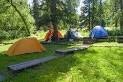 2.11 Lager der Touristen Stockbild