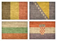2/13 Flags of European countries. Vintage collection of european country flags isolated on white background. Belgium, Bosnia and Herzegovina, Bulgaria, Croatia stock illustration