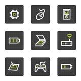 2个按钮电子灰色图标三角板万维网 库存照片