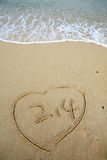 2.14 in Heart shape on beach Stock Photo