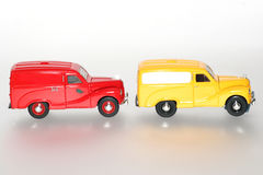 2 1953 Austin A40 in a line classic toy car sideview Stock Images