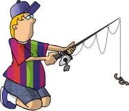 2个男孩捕鱼 库存例证