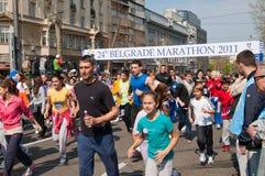 2 24th belgrade roliga maratonkörning Arkivbilder