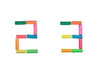 2 3个字母表编号彩色塑泥 库存图片
