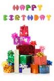 2 3 изолированного счастливого подарка коробок дня рождения Стоковое Изображение RF