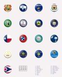 2 3 соединенного положения положения штемпеля флага шарика Стоковое Фото