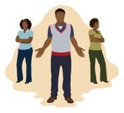 Чернокожий человек выбирая между 2 женщинами Стоковые Изображения RF