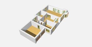 2 3d房子形象化 免版税图库摄影