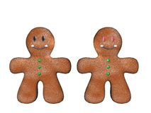2 3d ginger bread men Royalty Free Stock Photos
