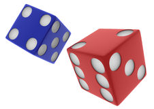2 3D Red And Blue Dice On White Backgound Royalty Free Stock Images