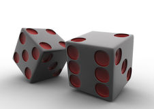 2 3D red and white dice on white backgound Royalty Free Stock Images