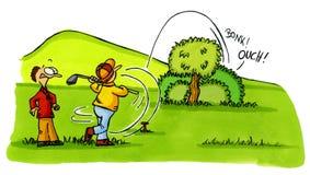 2部事故动画片打高尔夫球高尔夫球运动员编号系列 图库摄影