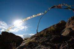 2 5 flagi tybetańskiej modlitwy. Zdjęcie Royalty Free