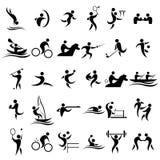спорт 2 силуэтов игроков икон футбола шарика Стоковые Фотографии RF