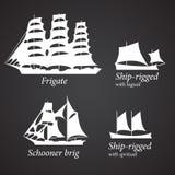 不同的船剪影在白色颜色的 第2.部分 库存照片