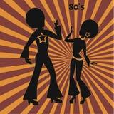 2 танцора диско, ретро иллюстрация семидесятых годов Стоковая Фотография RF