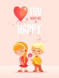 Романтичная концепция с 2 маленькими ребеятами, мальчиком и девушкой Стоковое фото RF