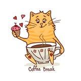 逗人喜爱的猫用咖啡2 图库摄影