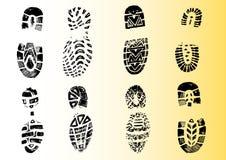2 8 детальных shoeprints Стоковая Фотография