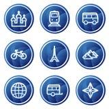 2 μπλε κουμπιά περιβάλλουν τον καθορισμένο Ιστό ταξιδιού σειράς εικονιδίων Στοκ φωτογραφίες με δικαίωμα ελεύθερης χρήσης