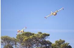 2 aéronefs de sapeur-pompier au-dessus des arbres dans le carmel Images libres de droits