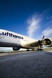 2 a380机场汉莎航空公司奥斯陆 免版税库存照片