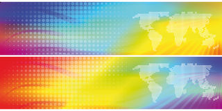 2 abstract colorful headers. Two abstract headers with map Stock Photography