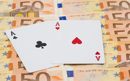 2 aces 50 euro bills Stock Images