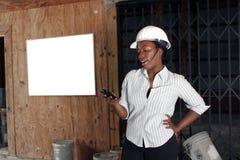 2 admin可爱建筑的女性 免版税库存图片