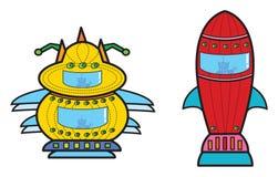 2 alien rocket spaceship. Cartoon illustration vector illustration