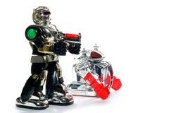 2 amigos do robô do brinquedo Fotos de Stock Royalty Free