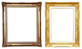 2 ancient golden frame on white Royalty Free Stock Photo
