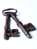 2 Antique Victorian Keys. Long view of 2 antique victorian keys Stock Image