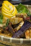 2 aubergine stekte kryddigt Royaltyfria Foton