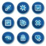 2 błękitny guzika okrążają ikon wizerunku setu widza sieć royalty ilustracja
