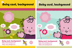 2 baby cards. Background, marketing presentation, advertising poster stock illustration