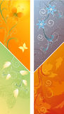 2 Banners with 4 Seasons Vector Illustration Stock Photos