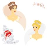 2 beautiful women in wedding dress. With elements for your card design Royalty Free Stock Photos