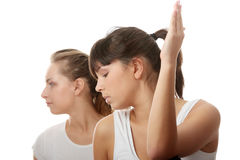 2 Beautiful young womans doing yoga exercise Stock Image