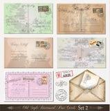 2 bedrövade gammala vykort inställd stil Royaltyfri Fotografi