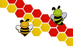 2 bees on background. A pretty wooden bee on background Royalty Free Illustration