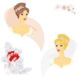 2 belle donne in vestito da sposa Fotografie Stock Libere da Diritti