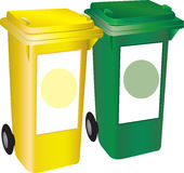 2 bins. Illustration of two different coloured bins on white Stock Images